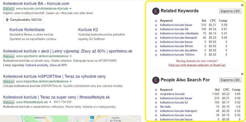 Keywords Everywhere - súvisiace vyhľadávania