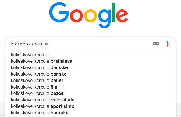 Návrhy googlu pre kľúčové slová kolieskové korčule