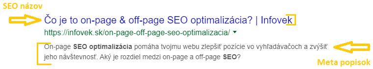 SEO názov a Meta Description - prvky on-page SEO optimalizácie